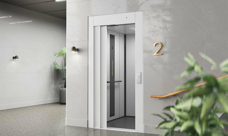 Modular passenger lift in bank office