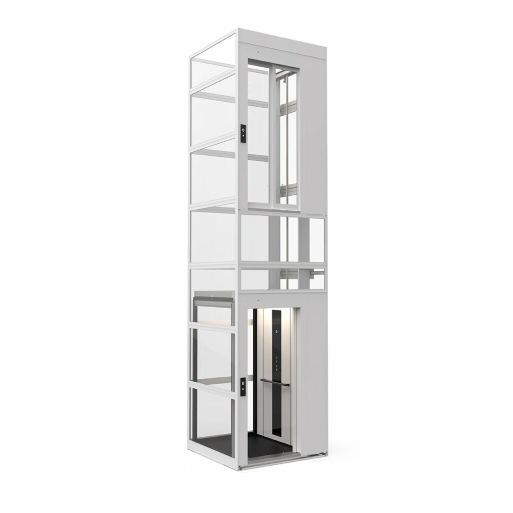 Cabin lift with modular glass shaft