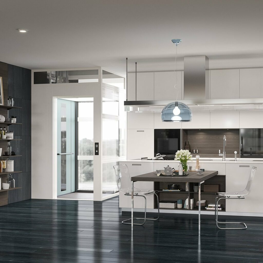 White home lift in modern style kitchen