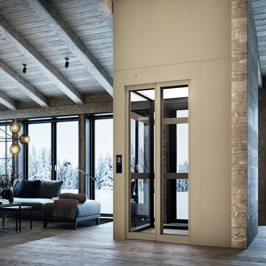 Lift in modern rustic cottage