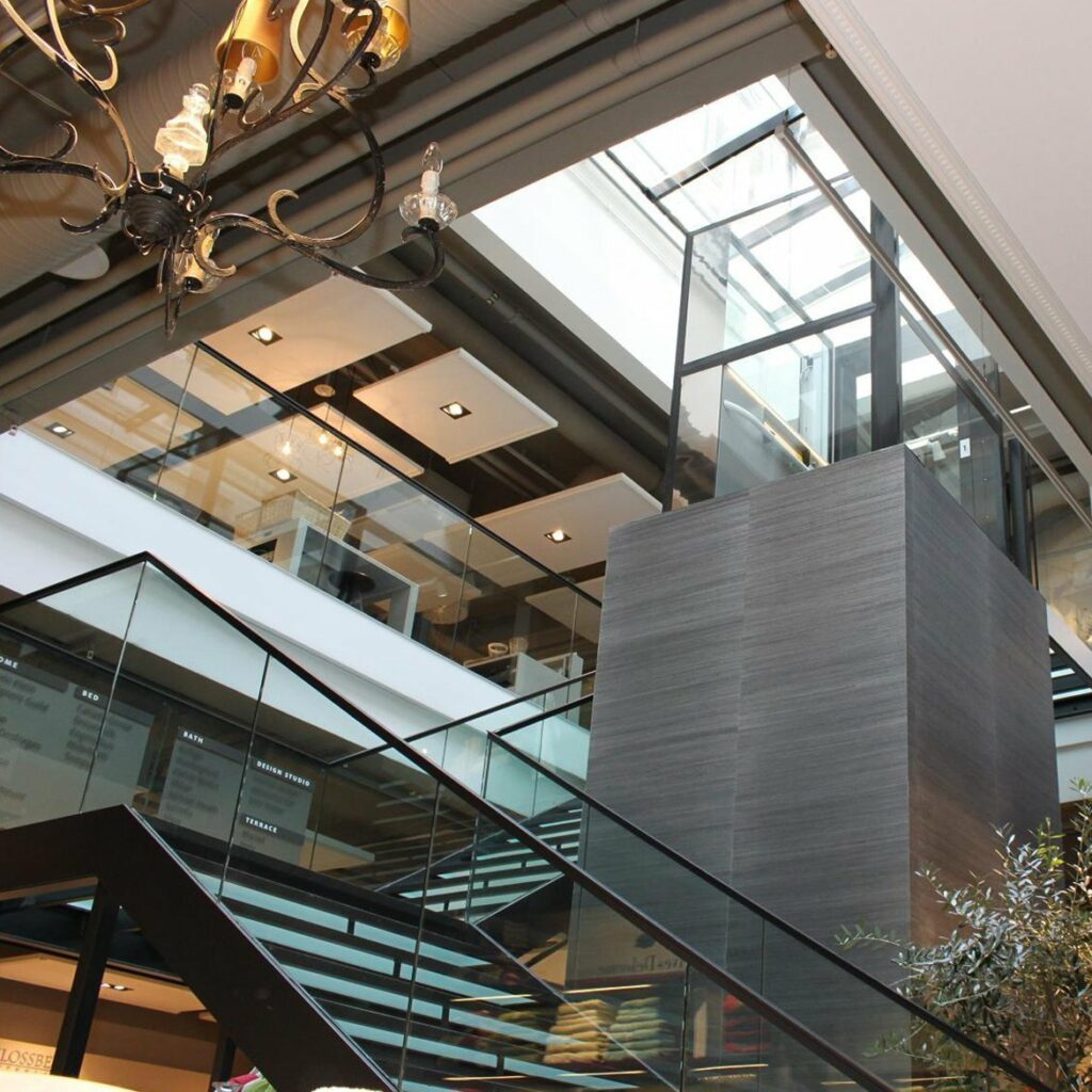 Platform lift in shopping centre