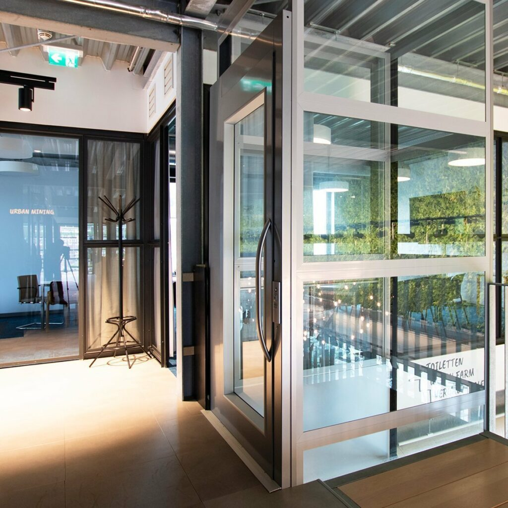 Platform lift in commercial office building