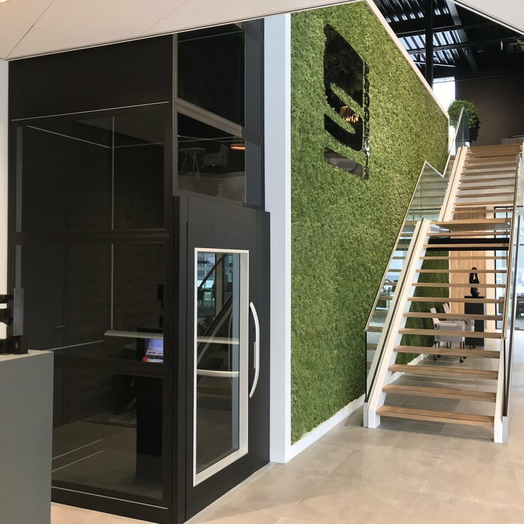 Platform lift in office showroom