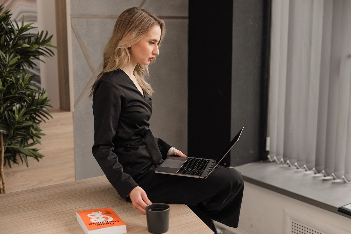 Woman Alone On Laptop