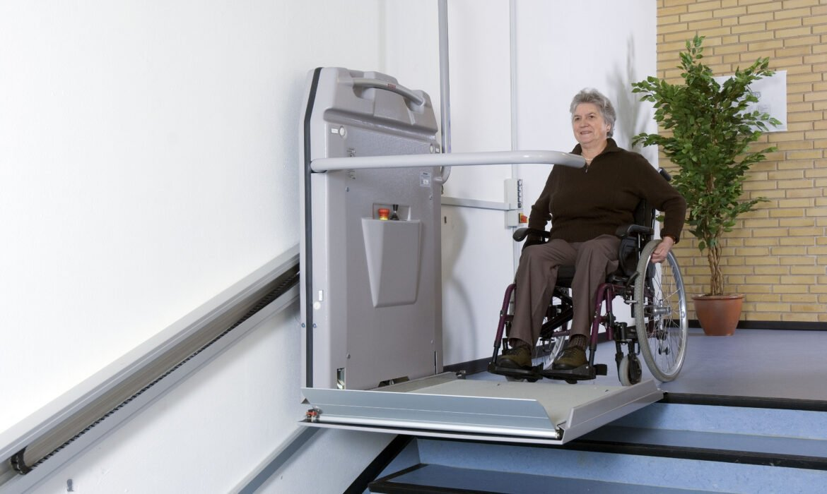 Wheelchair user using a Cibes S7 Stairlift