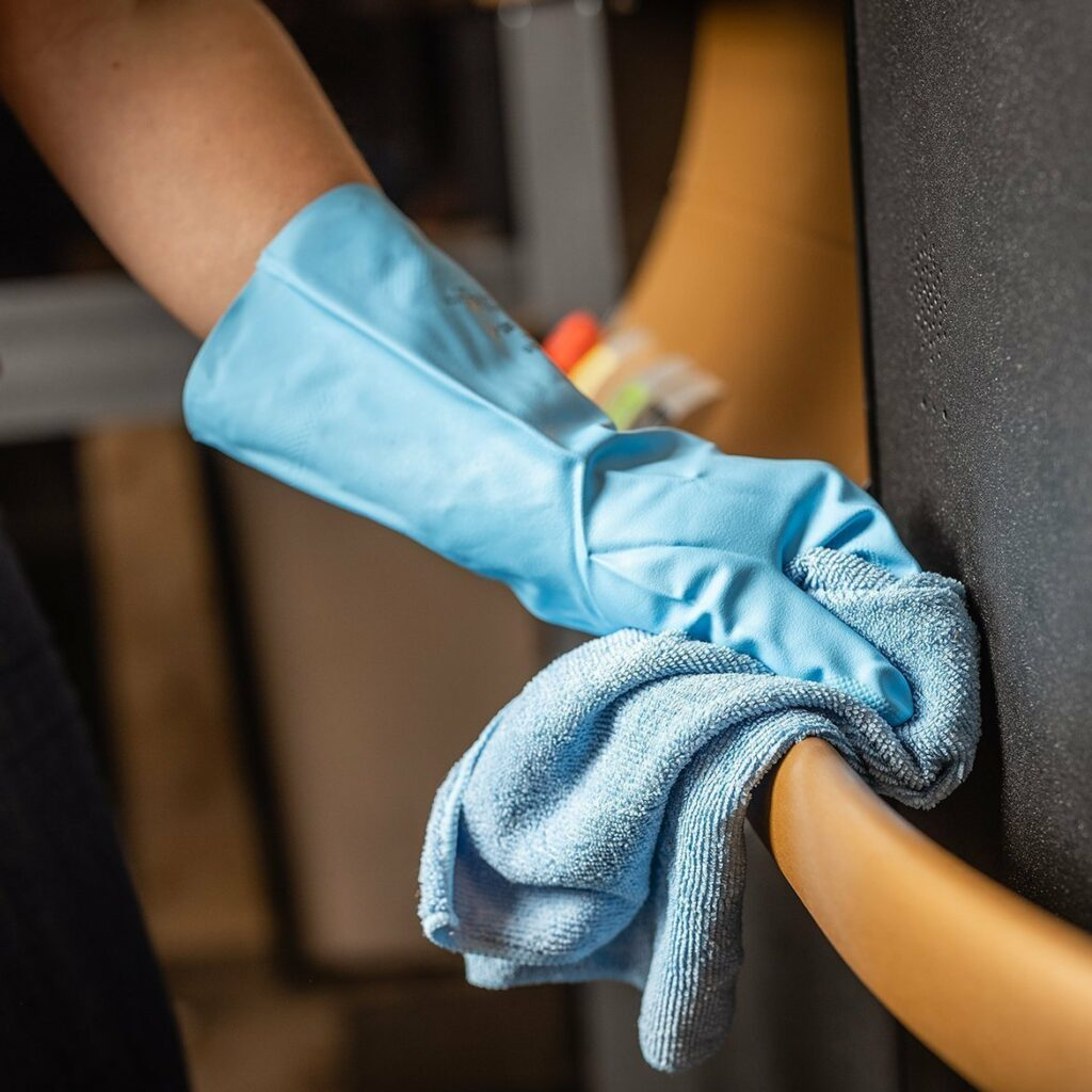 Clean and sanitise frequently touched surfaces