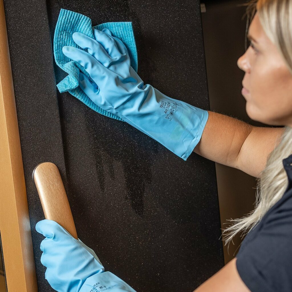 Wipe down the doors and steel surfaces