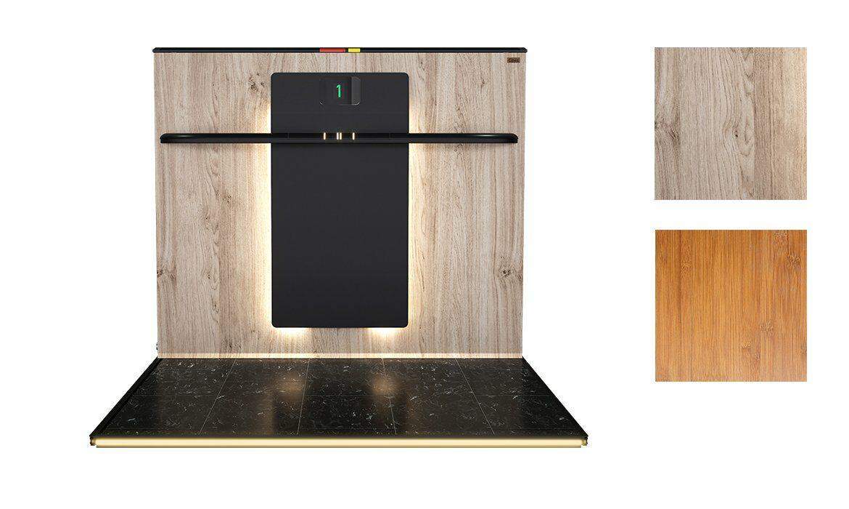 Platform back panel in wood