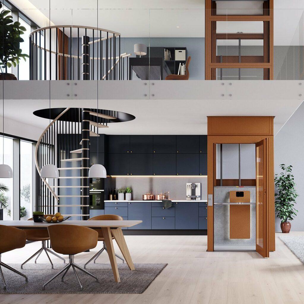 Interior design in loft apartment