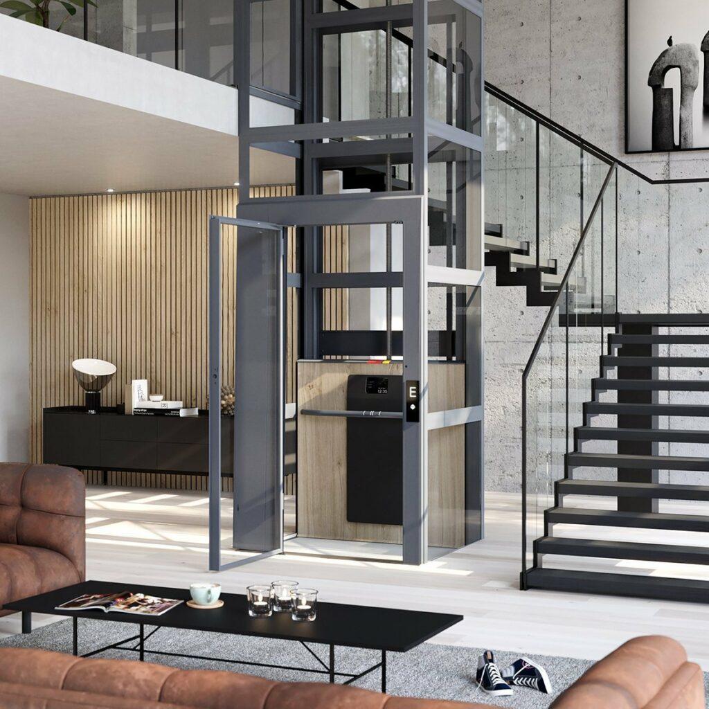 Home lift with elegant aluminium doors