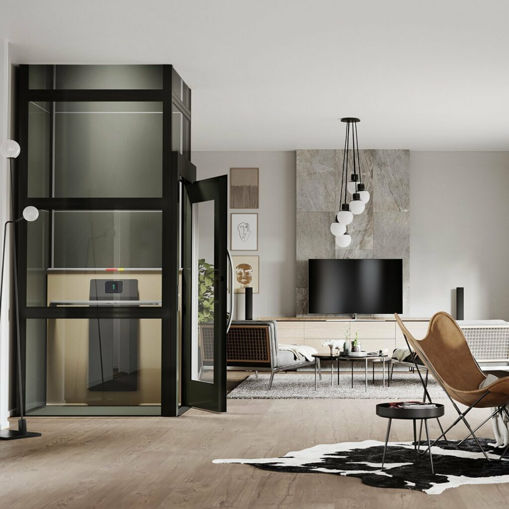 Black lift in retro style living room
