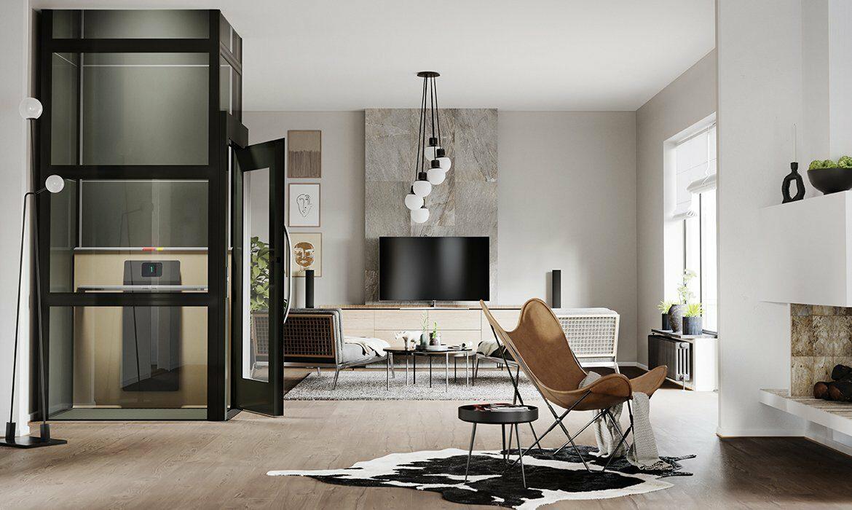 Black lift in retro style living room