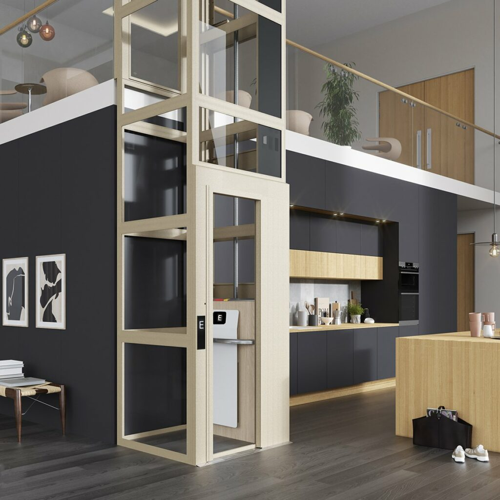 Modern kitchen with black walls and wood