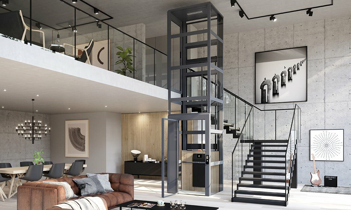 Residential lift in loft apartment