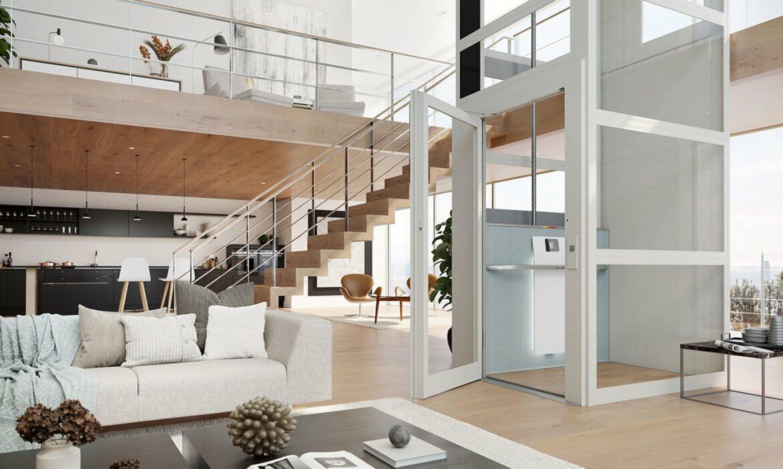 Domestic lift with textile design