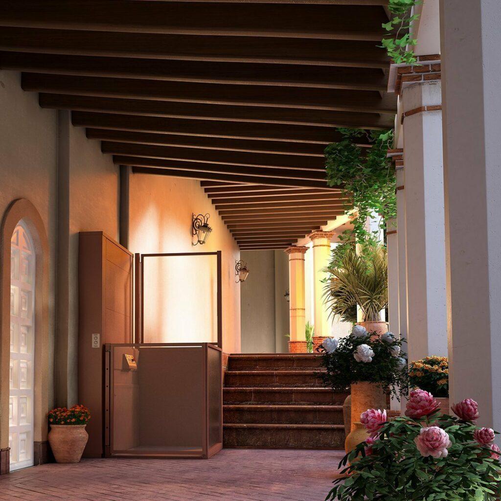 Platform lift in Spanish style villa