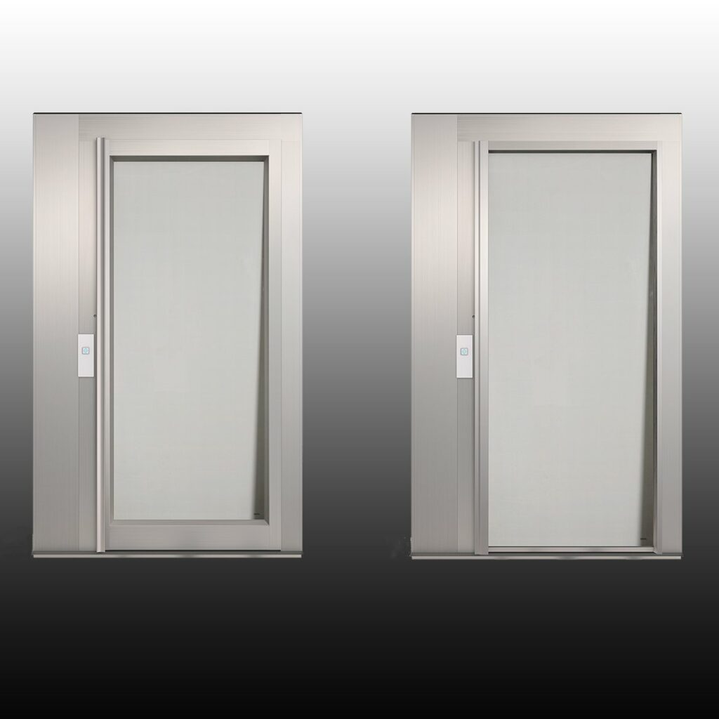 Aluminium doors for outdoor lifts