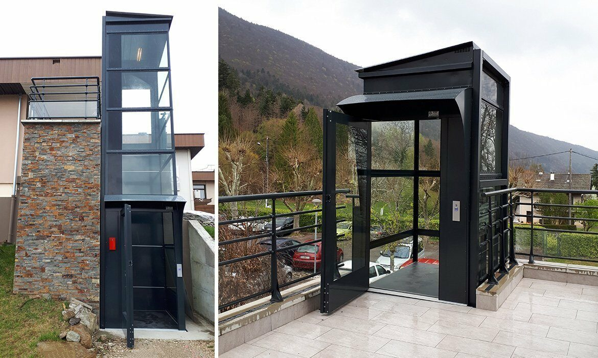 Home lift installed at outdoor terrace.