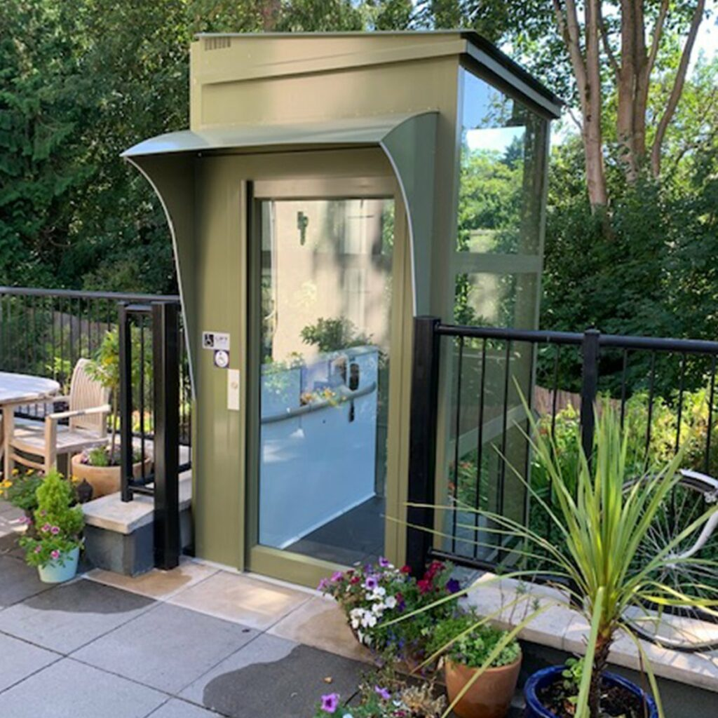 Platform lift installed outdoors