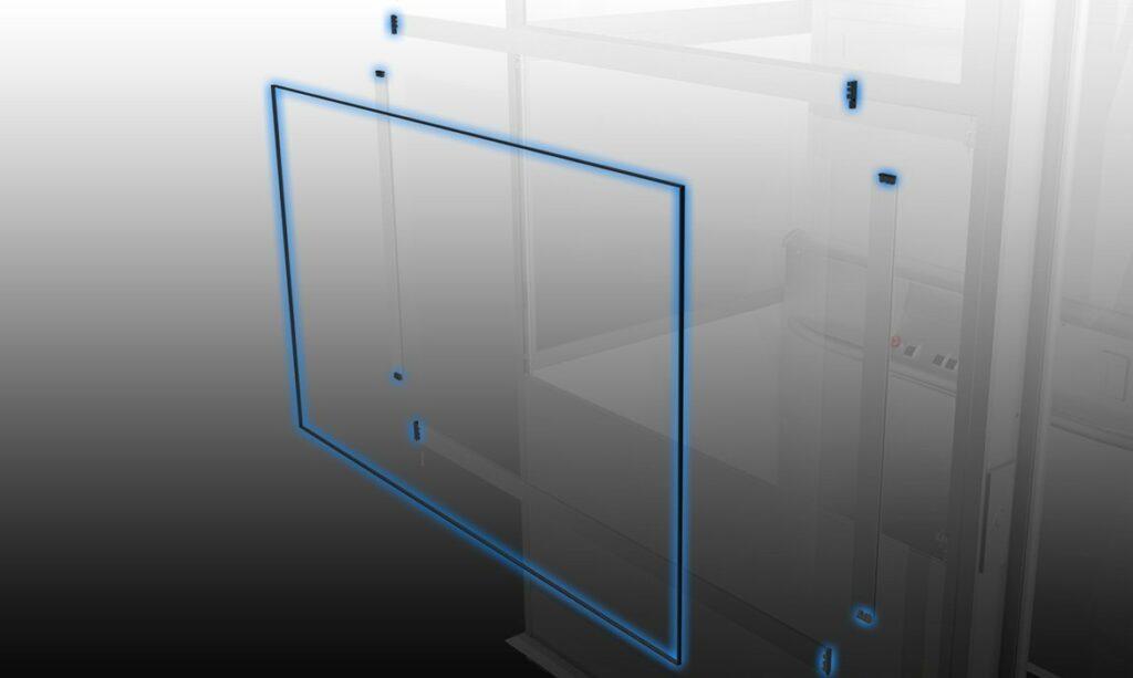 Ascensor exterior con paneles de vidrio sellados