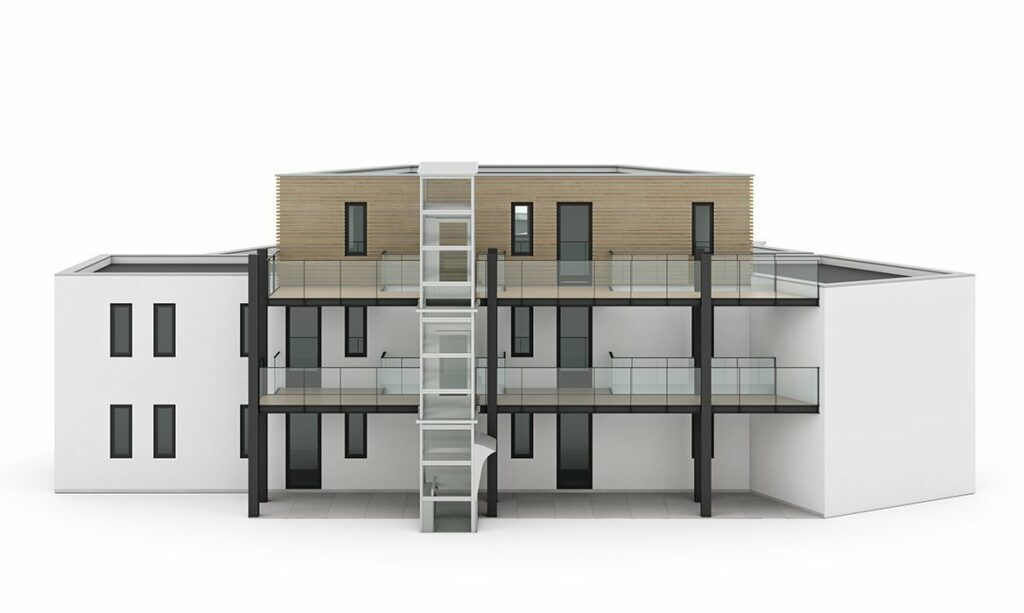 Space-efficient outdoor concept outdoor lift