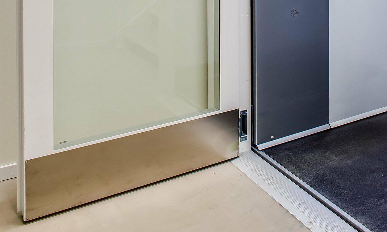 Door kick plates in stainless steel