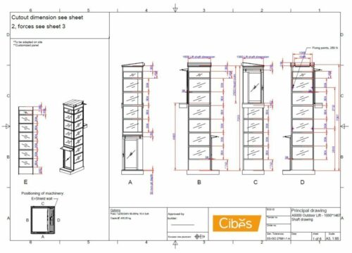 Drawings for outdoor lift