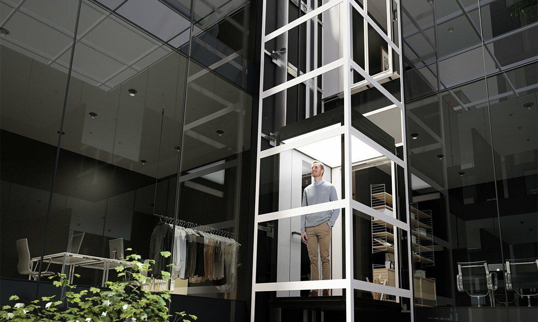 Ascensor de cabina en oficina