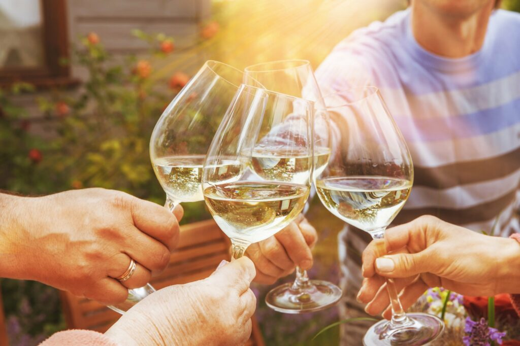 Group of people clinking glasses in garden