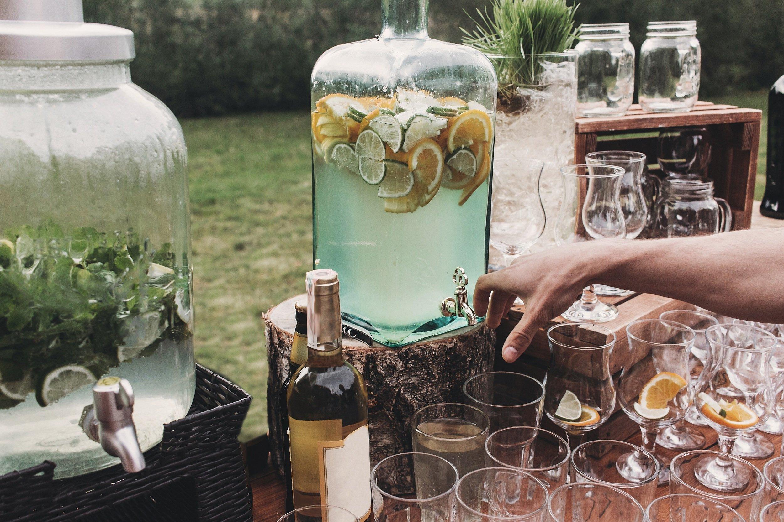 Serving drinks from garden bar