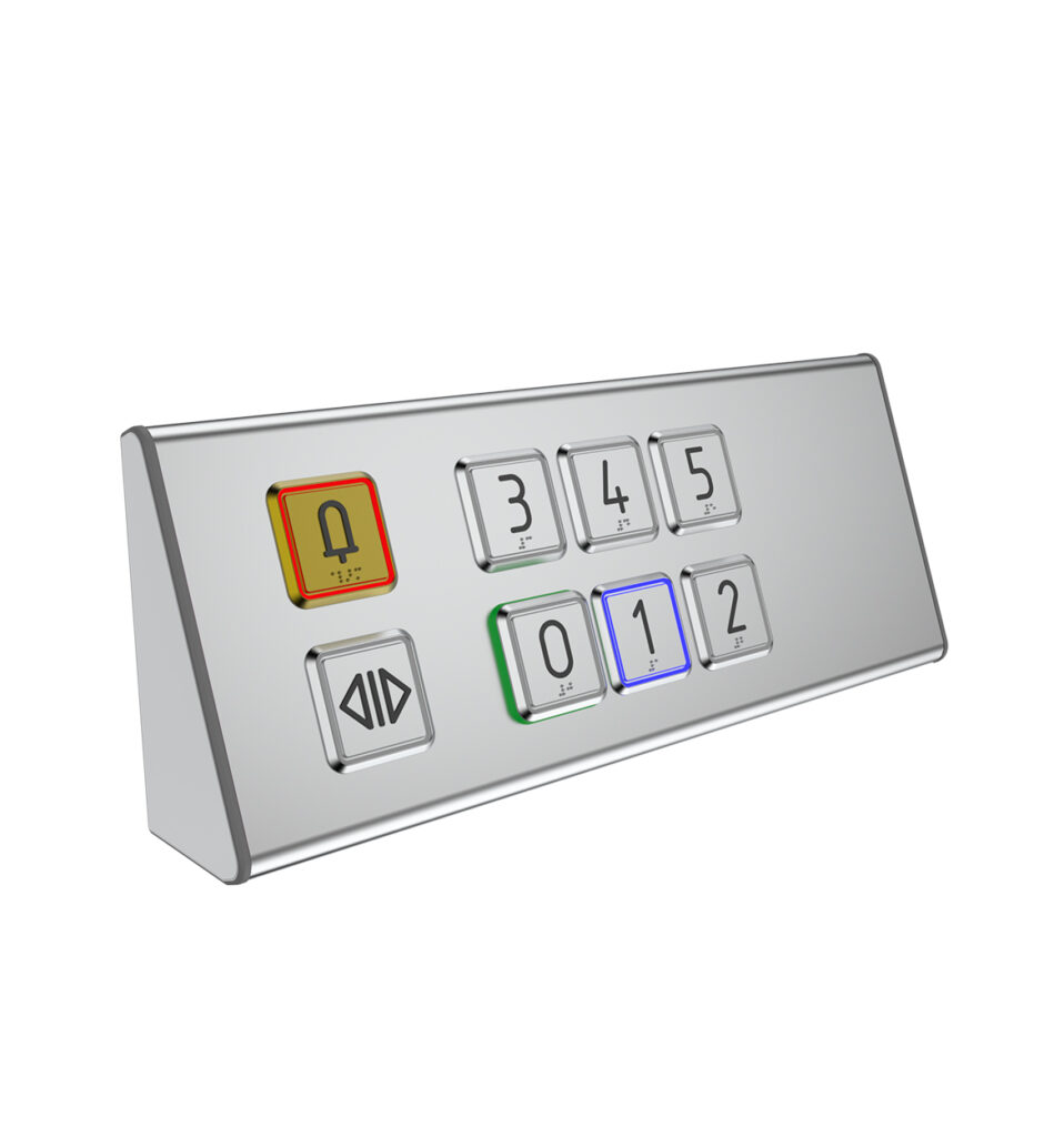 Inclinded lift control panel