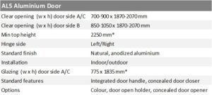 Aluminium door AL5 specification