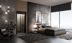 Industrial style penthouse bedroom with private lift