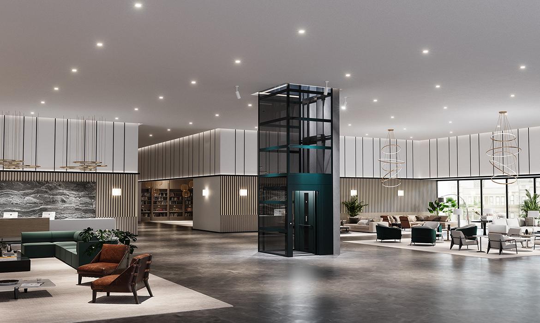 Elegant cabin lift in hotel lobby