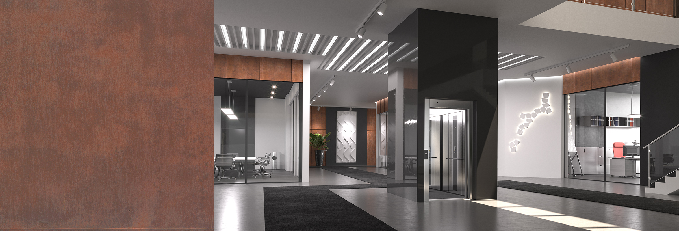 Modular lift in office building