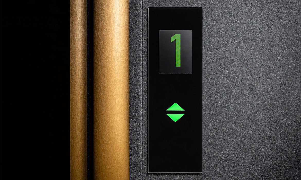 Lift call button with touchscreen