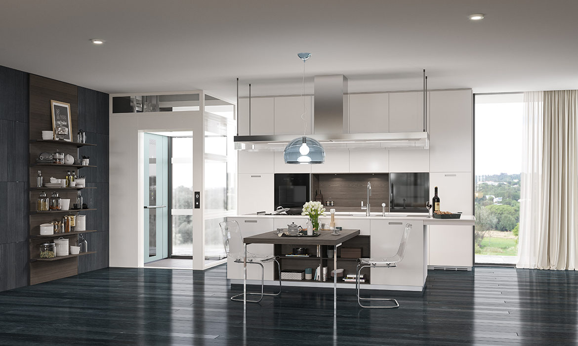 Contemporary white kitchen with cabin lift