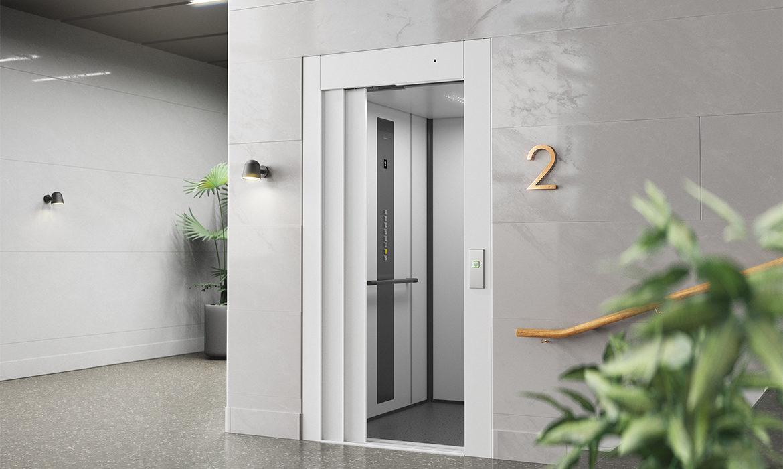 Automatic sliding door in steel