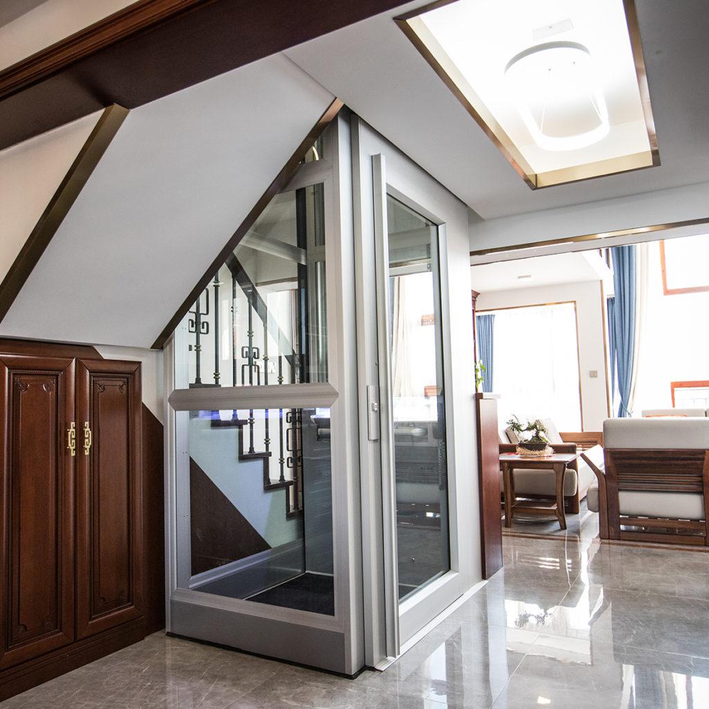 Home lift with aluminium door by Kalea Lifts