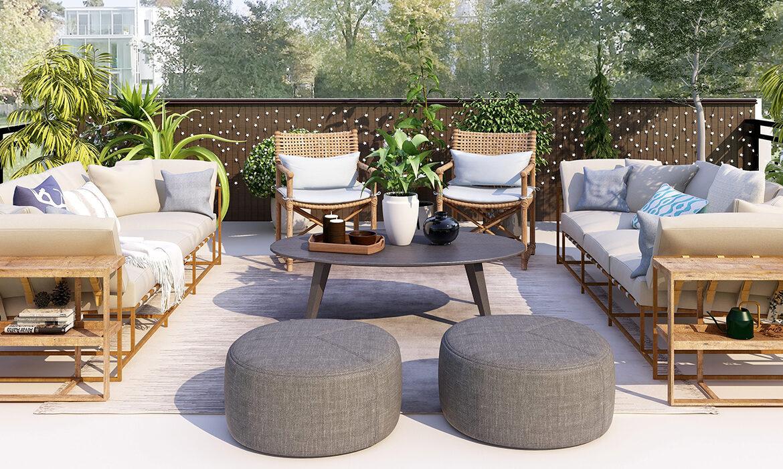 Elegant garden terrace with bamboo furniture