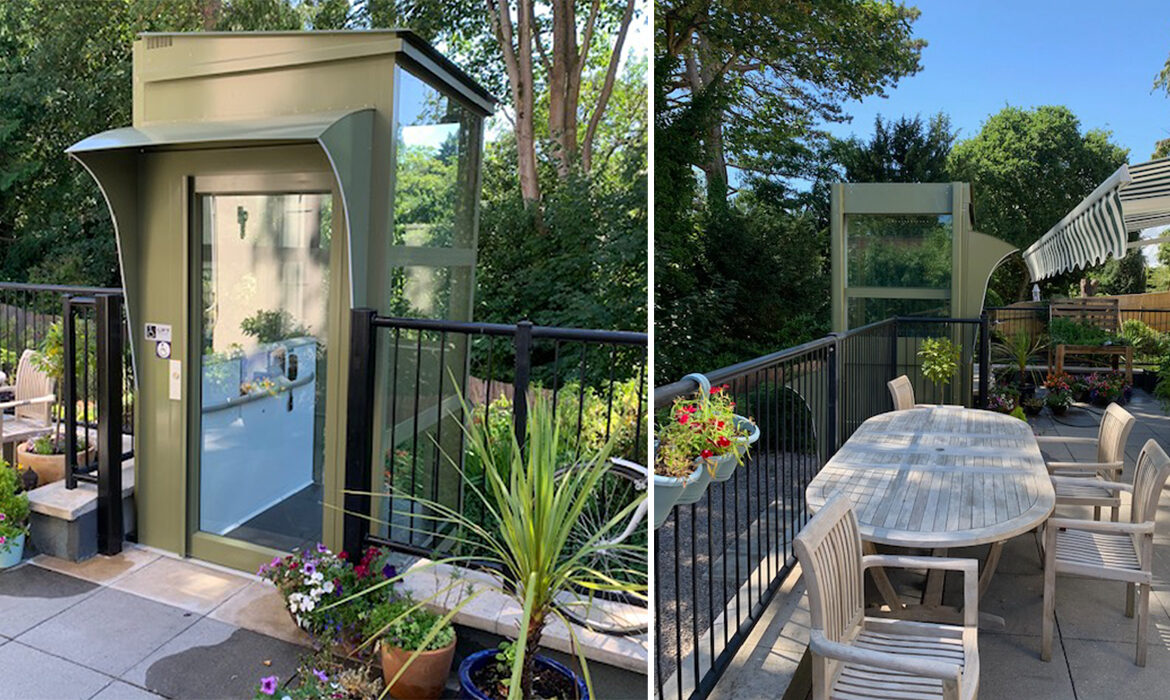 Green lift installed on outdoor terrace