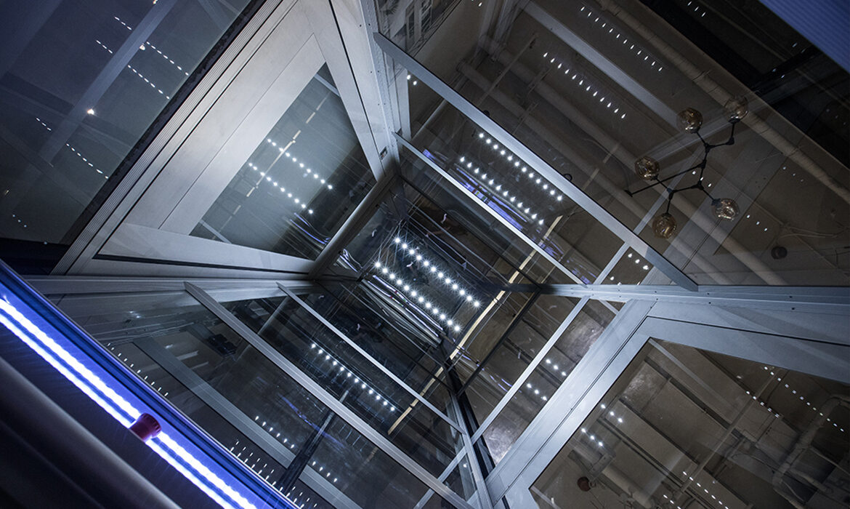 Lift shaft with panoramic glazing