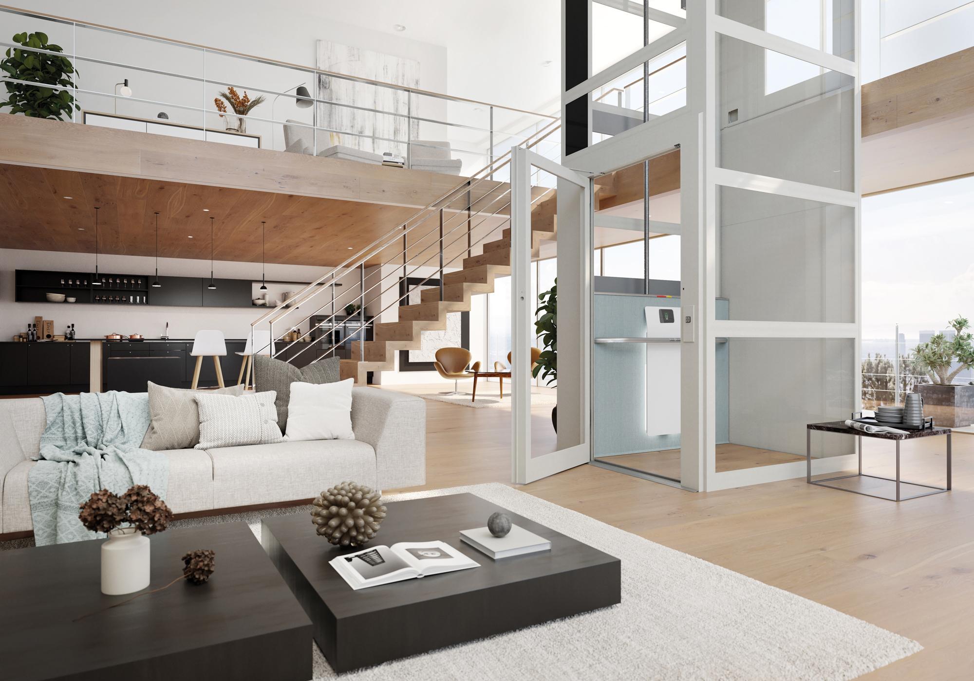 Huislift, verlengstuk van het interieur